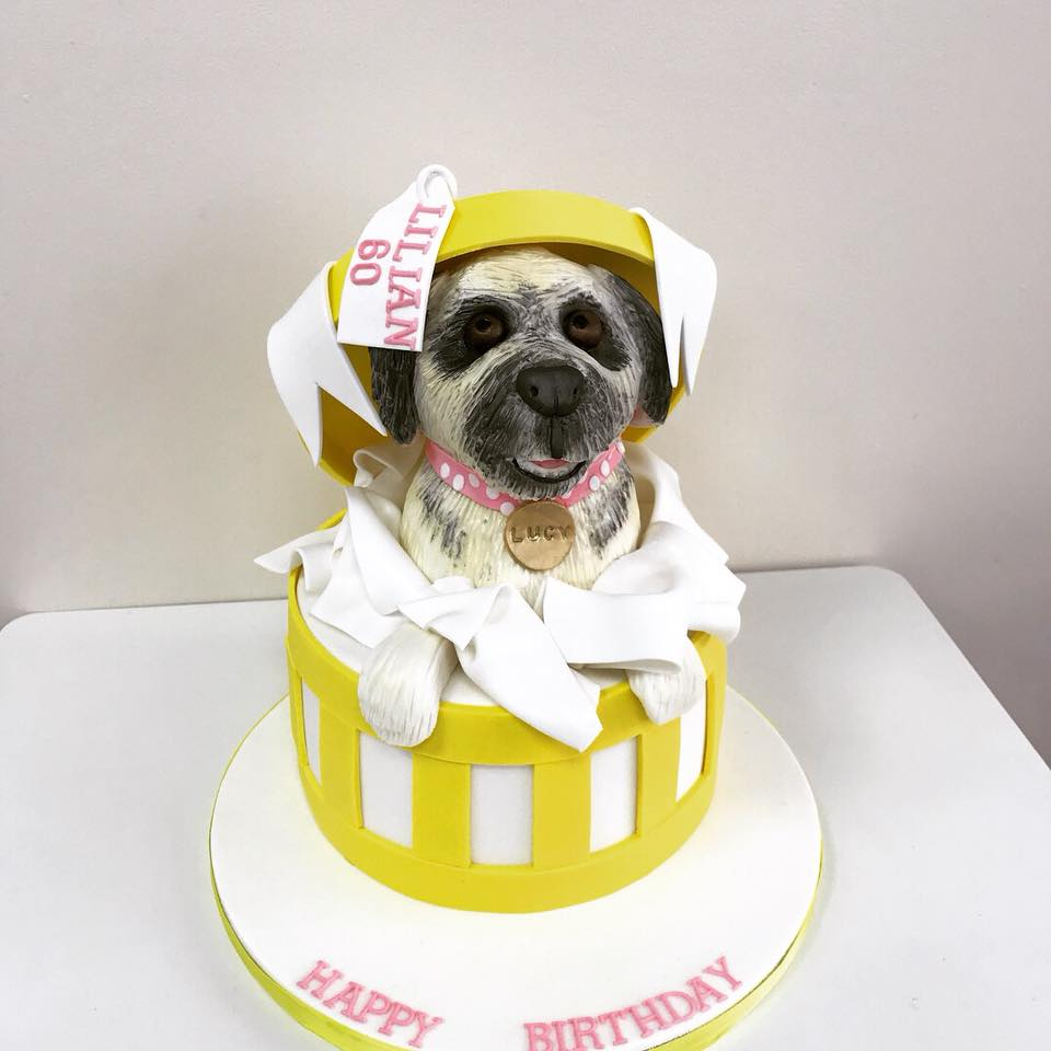 Amazing Dog In A Hat Box Birthday Cake Luscious Lovelies Cakes Funny Birthday Cards Online Unhofree Goldxyz