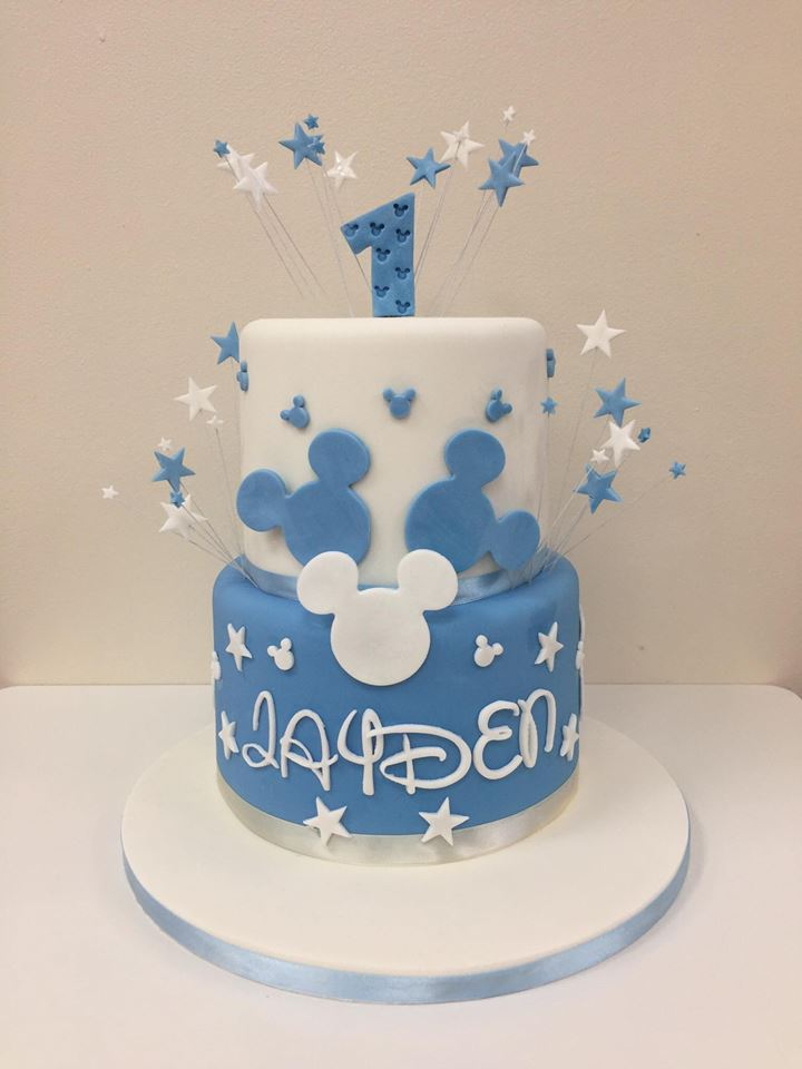 Magnificent Mickey Mouse 1St Birthday Cake Luscious Lovelies Cakes Personalised Birthday Cards Veneteletsinfo