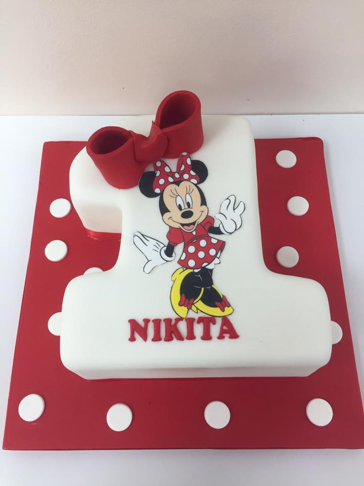Fantastic Minnie Mouse Number 1 Birthday Cake Luscious Lovelies Cakes Funny Birthday Cards Online Alyptdamsfinfo