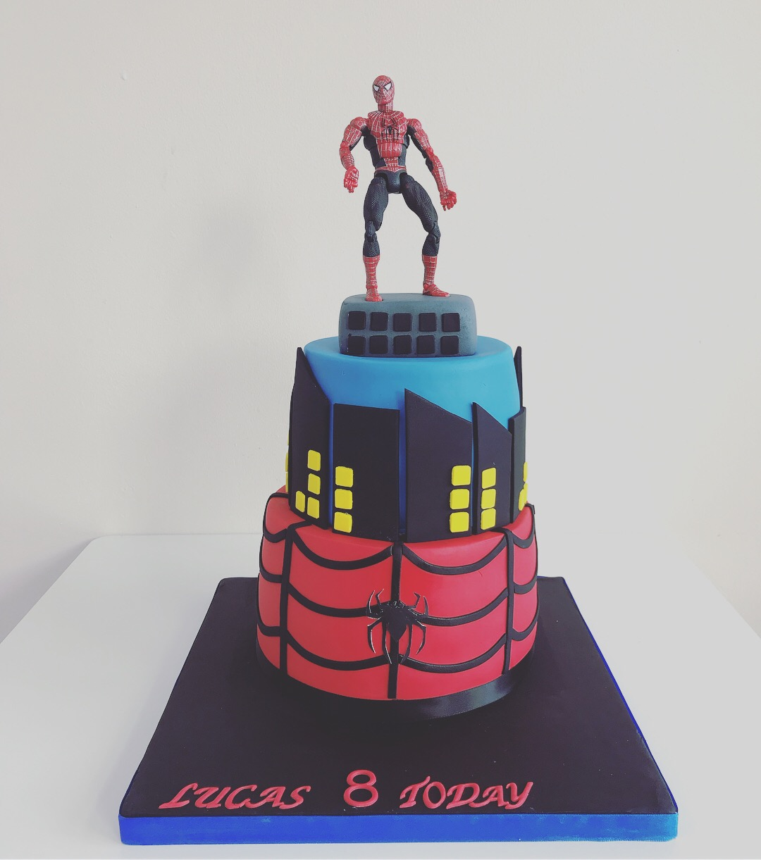 Astonishing Spider Man Childrens Birthday Cake Luscious Lovelies Cakes Personalised Birthday Cards Cominlily Jamesorg